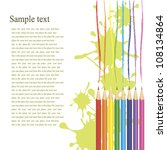 colored pencils with blotches... | Shutterstock .eps vector #108134864
