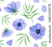 blue flowers  petals and leaves.... | Shutterstock . vector #1081349378