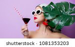 portrait of beautiful style... | Shutterstock . vector #1081353203