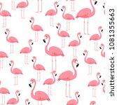 pink flamingo seamless pattern... | Shutterstock .eps vector #1081355663