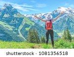 girl traveler  arms...   Shutterstock . vector #1081356518
