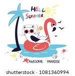 hello summer. white black cat... | Shutterstock .eps vector #1081360994