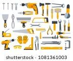 set of hand instrument for work ... | Shutterstock .eps vector #1081361003