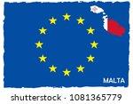 european union flag   malta map ... | Shutterstock .eps vector #1081365779