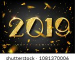2019 golden new year sign with... | Shutterstock .eps vector #1081370006