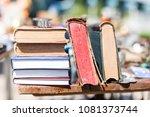 old aged books at flea market.... | Shutterstock . vector #1081373744