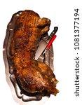 suckling pig in a plate | Shutterstock . vector #1081377194
