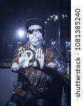punk hipster man is smoking a... | Shutterstock . vector #1081385240