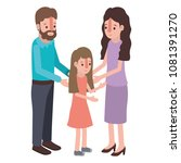 parents couple with daughter... | Shutterstock .eps vector #1081391270