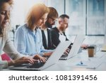 closeup view of young coworkers ... | Shutterstock . vector #1081391456