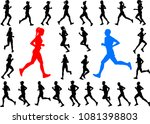 runners silhouettes collection  ...   Shutterstock .eps vector #1081398803