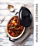 beef goulash with kidney beans  ... | Shutterstock . vector #1081408466