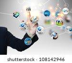 businessman press business... | Shutterstock . vector #108142946