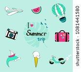 summer trip icon set  hand... | Shutterstock .eps vector #1081441580