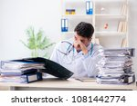 tired radiologist with x ray... | Shutterstock . vector #1081442774