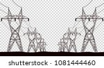 high electric tower isolated on ... | Shutterstock .eps vector #1081444460