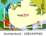 tropical and animal island of... | Shutterstock .eps vector #1081445960