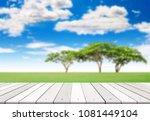 empty wooden plank on summer...   Shutterstock . vector #1081449104