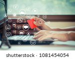 laptop and red credit card in... | Shutterstock . vector #1081454054