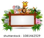 animals with a blank sign wood | Shutterstock .eps vector #1081462529