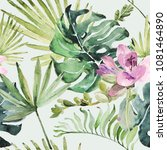watercolor ornament with... | Shutterstock . vector #1081464890