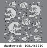 vector pattern tattoo old... | Shutterstock .eps vector #1081465310
