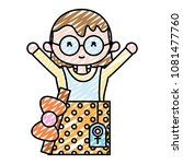 doodle cute woman with glasses... | Shutterstock .eps vector #1081477760
