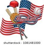 american flag and baseball.... | Shutterstock .eps vector #1081481000