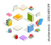 book icons set in isometric 3d... | Shutterstock .eps vector #1081489199