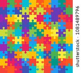 100 colorful background puzzle. ... | Shutterstock .eps vector #1081489796