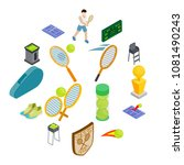 tennis icons set in isometric... | Shutterstock .eps vector #1081490243