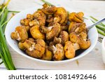 roasted grilled mushrooms on... | Shutterstock . vector #1081492646