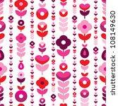 Seamless Retro Flower Stripes...