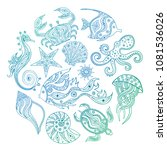 a set of sketches of marine... | Shutterstock .eps vector #1081536026