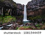 amazing view of svartifoss... | Shutterstock . vector #1081544459
