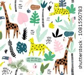 seamless pattern with giraffe ... | Shutterstock .eps vector #1081550783