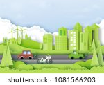 green eco city with environment ... | Shutterstock .eps vector #1081566203