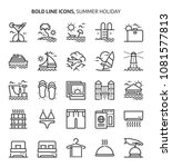 summer holiday  bold line icons.... | Shutterstock .eps vector #1081577813