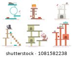 cat tower and scratching post... | Shutterstock .eps vector #1081582238