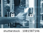 hand using security key card... | Shutterstock . vector #1081587146