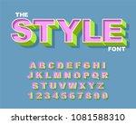 3d bold retro font. vintage... | Shutterstock .eps vector #1081588310