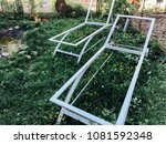 metal frame sun loungers on the ... | Shutterstock . vector #1081592348