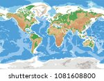 physical map of earth detailed... | Shutterstock .eps vector #1081608800