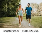 young couple running in the...   Shutterstock . vector #1081623956