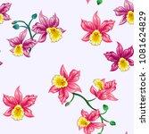tropical flowers pretty pattern.... | Shutterstock .eps vector #1081624829