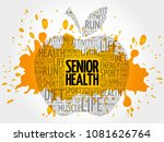 senior health apple word cloud  ... | Shutterstock . vector #1081626764