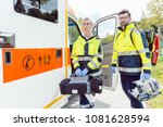 paramedic nurse and emergency... | Shutterstock . vector #1081628594