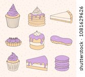 vector pastry collection of... | Shutterstock .eps vector #1081629626