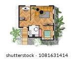 rendered floor plan. vector... | Shutterstock .eps vector #1081631414