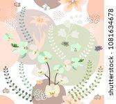 elegant botanical print with... | Shutterstock .eps vector #1081634678